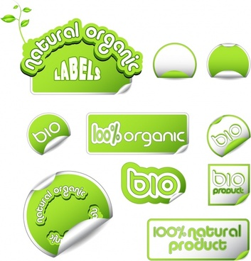 bio stickers templates green white paper cut shapes