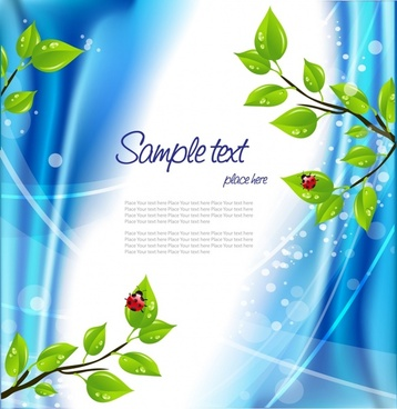 nature background leaf ladybug icons bright bokeh decor