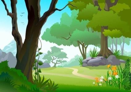 green landscape trees background vector