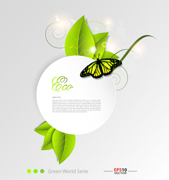green leaf and butterfly shiny background vector