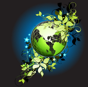 green leaf and eco earth vector