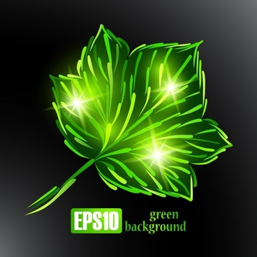 ecology background sparkling green leaf icon handdrawn sketch