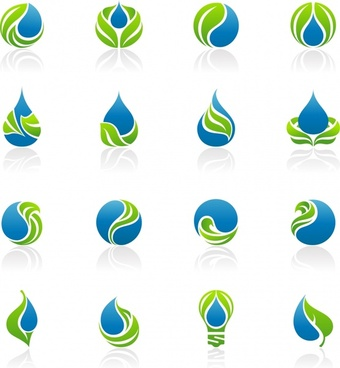 eco logotypes collection green blue curves rounded decor