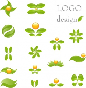leaf logo templates flat green design curves ornament