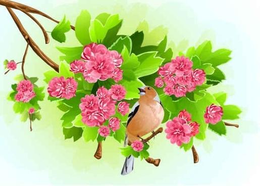 Green Leaf Pink Flowers Background