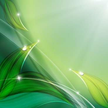 green leaf with water droplets background vector