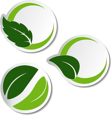 green leafy label vector