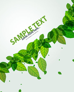 green leave flyer and cover brochure background vector