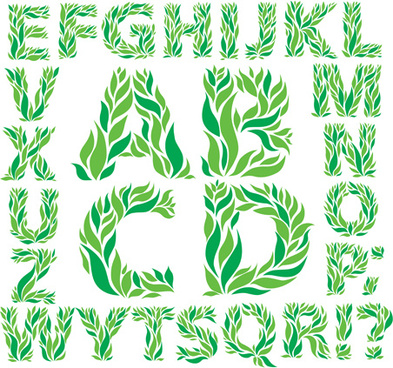 green leaves alphabet excellent vector