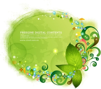 green leaves and colorful background pattern vector