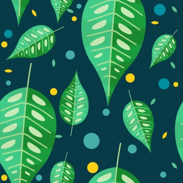 green leaves background flat rounded design
