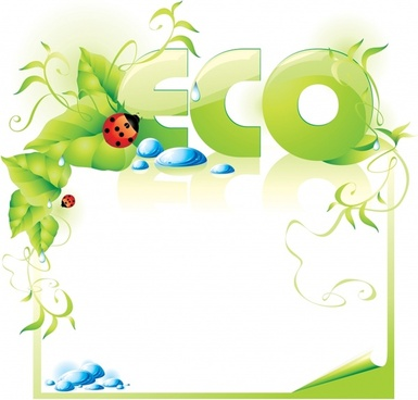 eco banner frame green leaf text ladybug decor