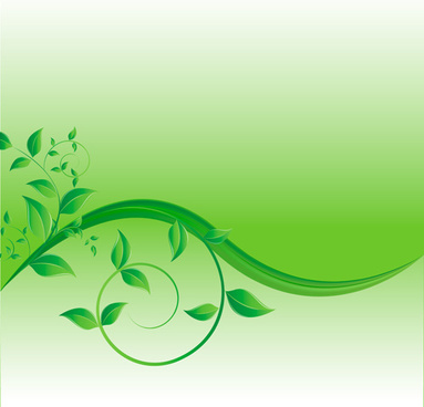 green leaves wave creative background vector