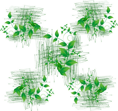 green leaves with grunge elements vector