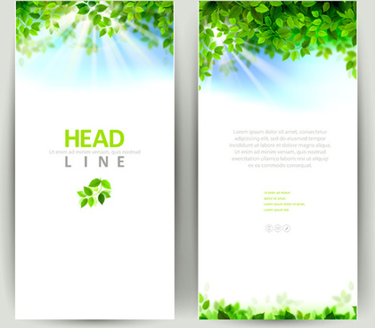 green leaves with sunlight banners vector