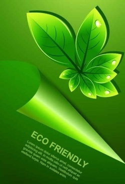 green leaves with water drop eco background