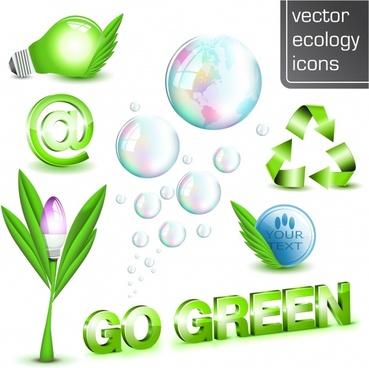 ecology design elements green modern 3d icons