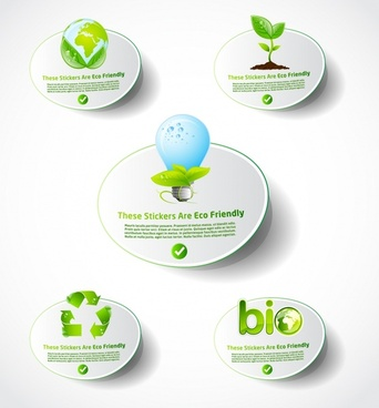 eco label templates modern bright environmental elements decor