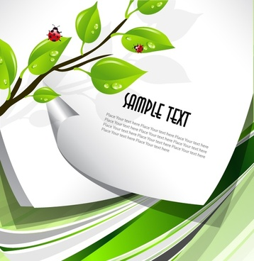 nature background green leaves ladybug paper decor