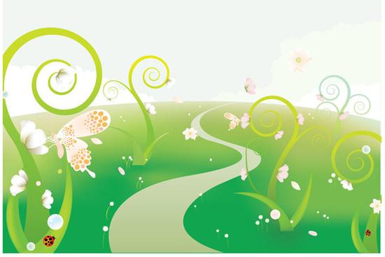 green natural cartoon landscapes vector