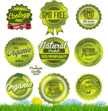 green natural labels and badges vector
