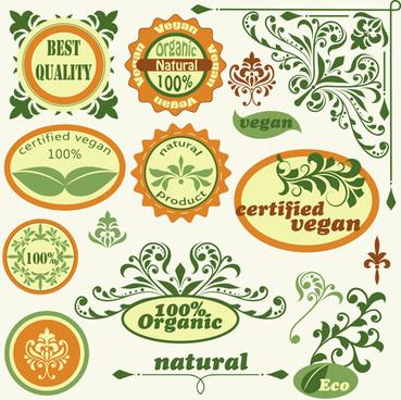 green natural labels design vector
