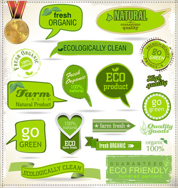 green natural ribbon with labels vector