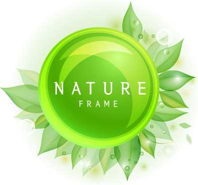 green nature circle leaf frame