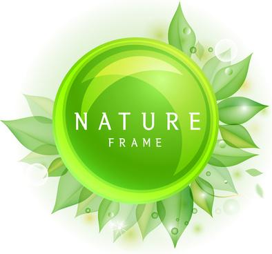 green nature circle leaf frame