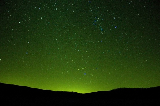 green night sky with stars at hogback prairie state natural area wisconsin