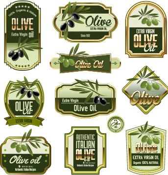green olive oil labels set vector