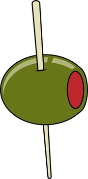 Green Olive On A Toothpick clip art