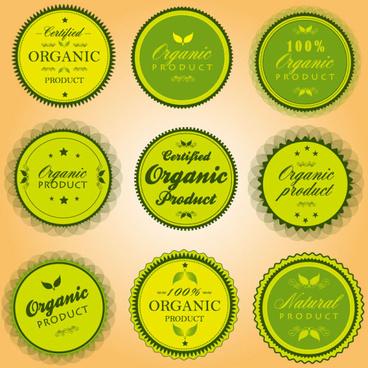 green organic labels vector set