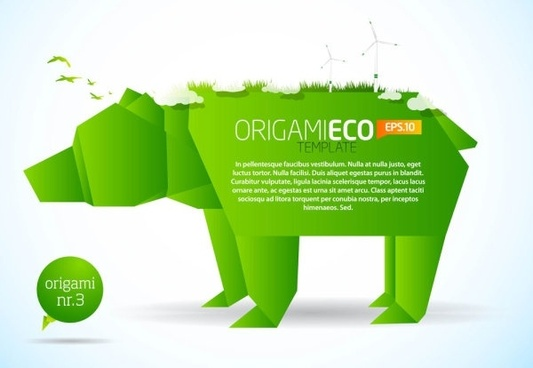 green origami animals 01 vector