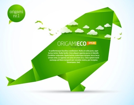 green origami animals 02 vector