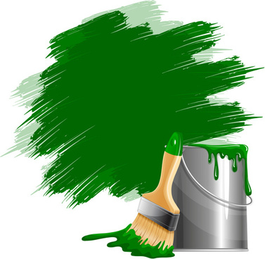 green paints with paint bucket vector
