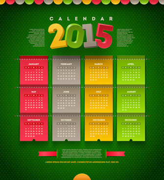 green pattern with colored15 calendar vector