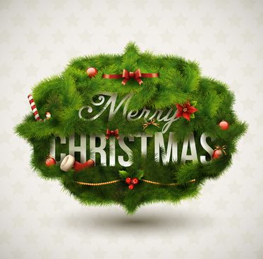 green pine needles christmas cards backgrounds vector