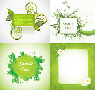 green plants decorative frame vector