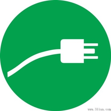 green plug icon vector