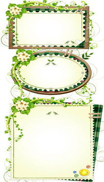 green rattan edge text frames vector