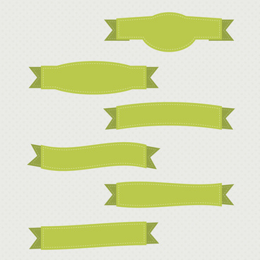 green ribbon banner set