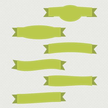 green ribbon banner set