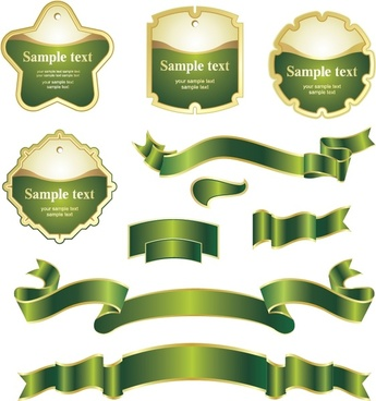 label ribbon templates shiny yellow green design