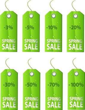sales tags templates wet green decor vertical design