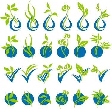plants design elements curves decor green blue design