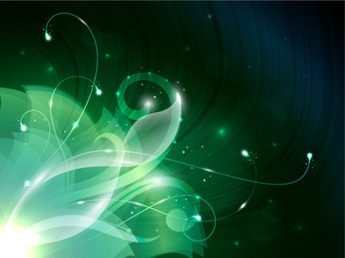 green shiny floral backgrounds vector