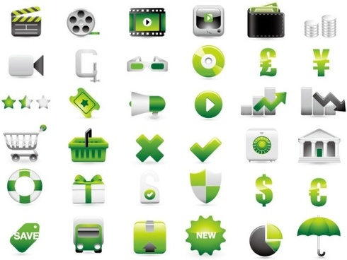 green shopping website decoration icon vector