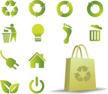 ecology design element green icons design