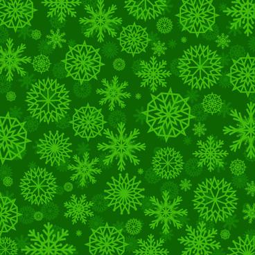 green snowflake vector seamless pattern